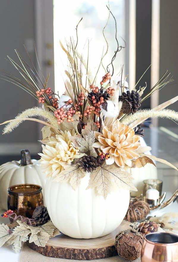 DIY White Pumpkin Vase