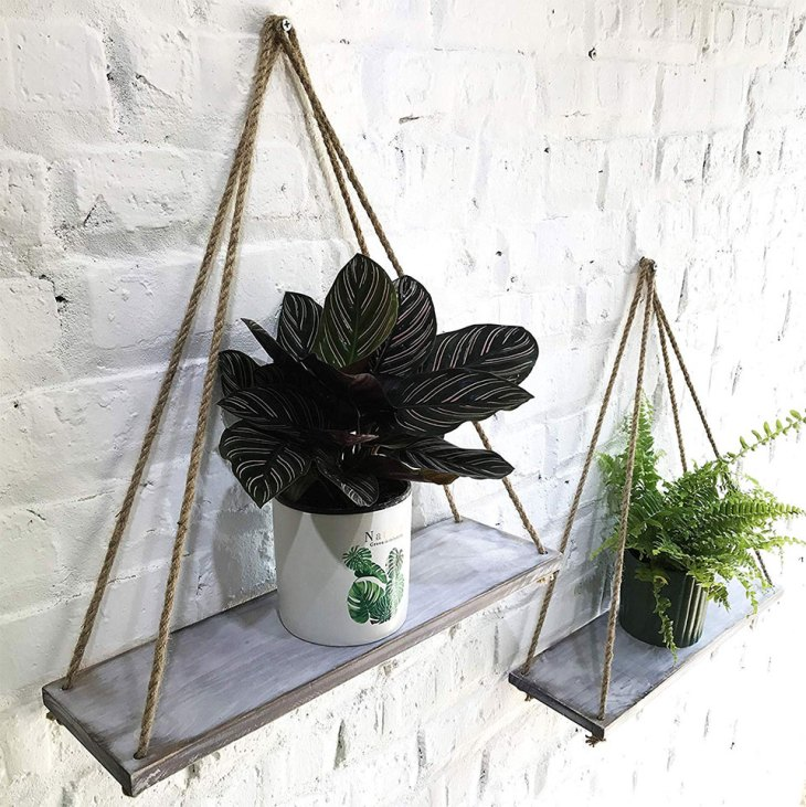 Distressed Wood Hanging Swing Rope Floating Shelves