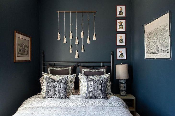 Eclectic Gray & Blue Guest Bedroom