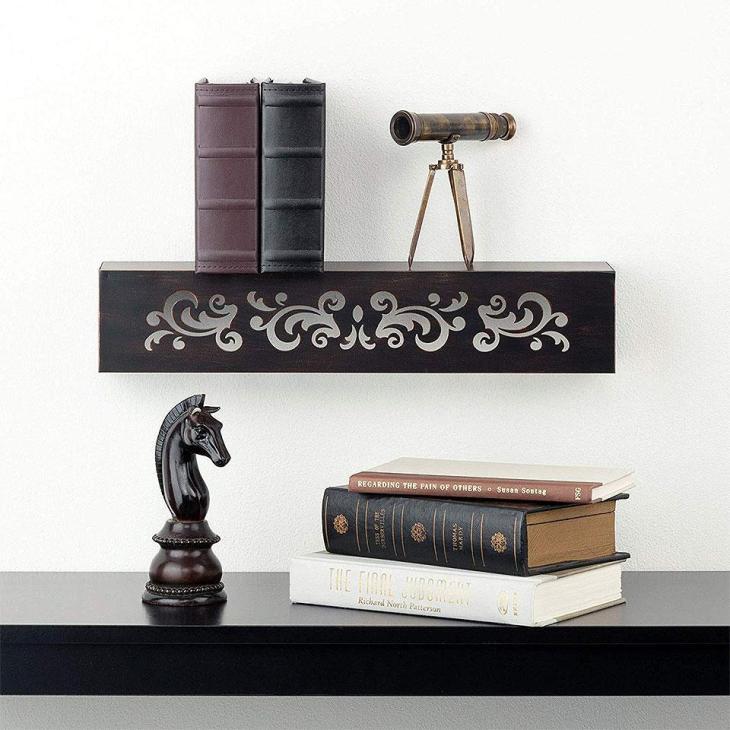 Floral Venetian Floating Metal Wall Shelf