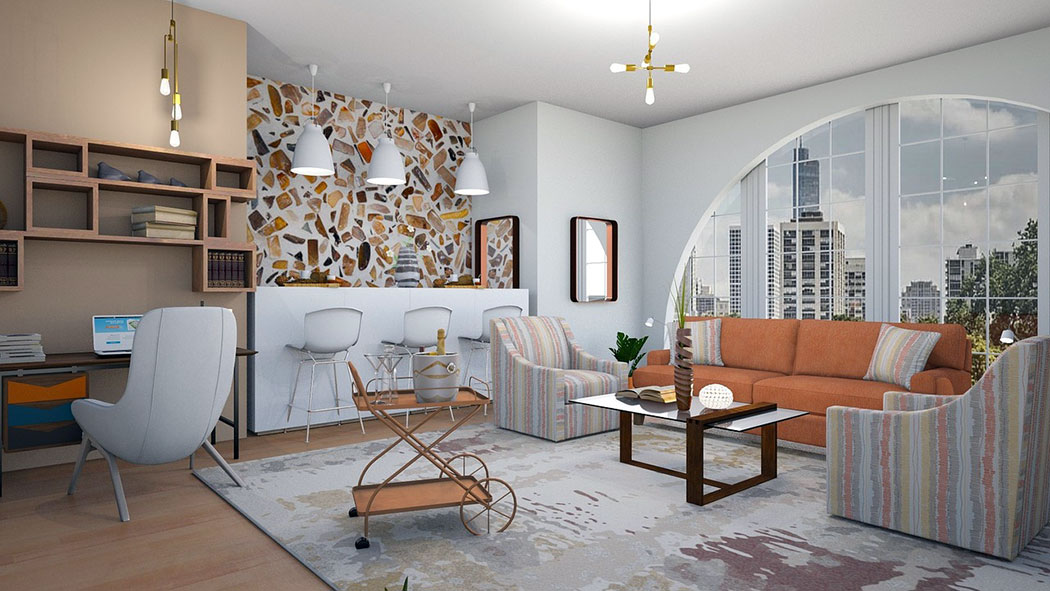 Geometric floating shelves in a living room.