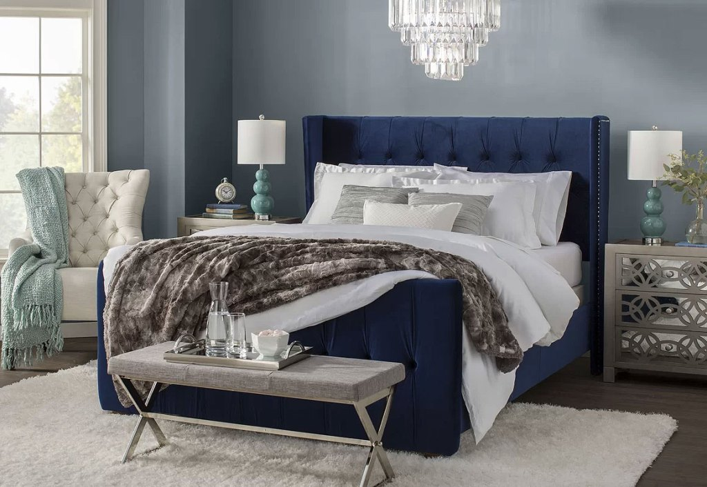 Glam Blue Bedroom Design