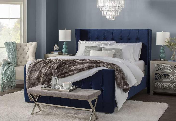 Glam Blue Bedroom Design