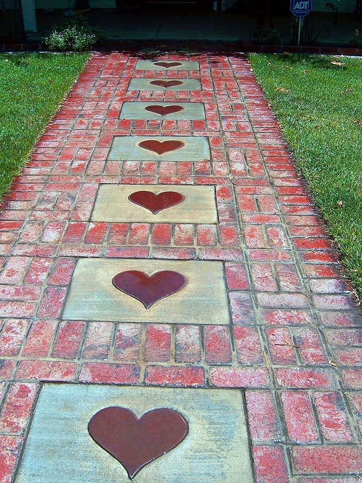 Heart Brick and Concrete Walking Path