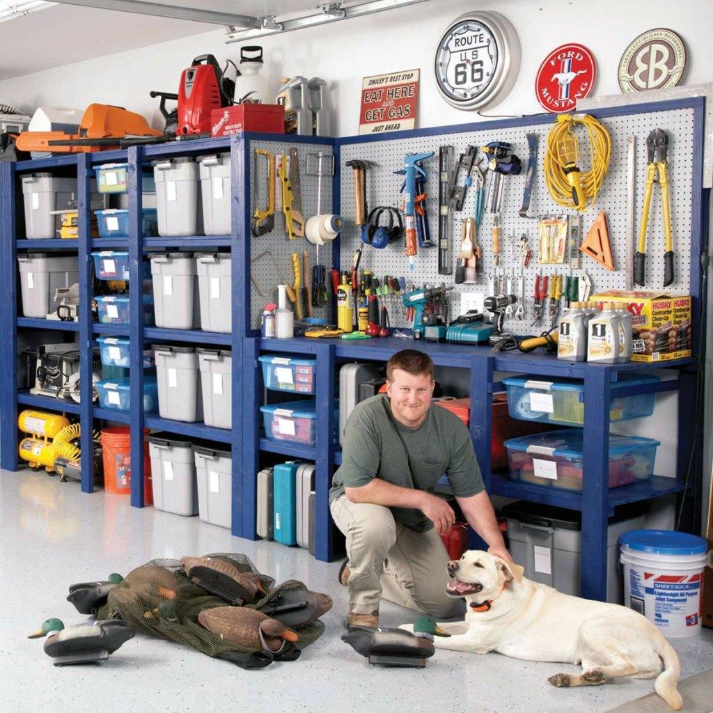 Inexpensive DIY Garage Storage Wall