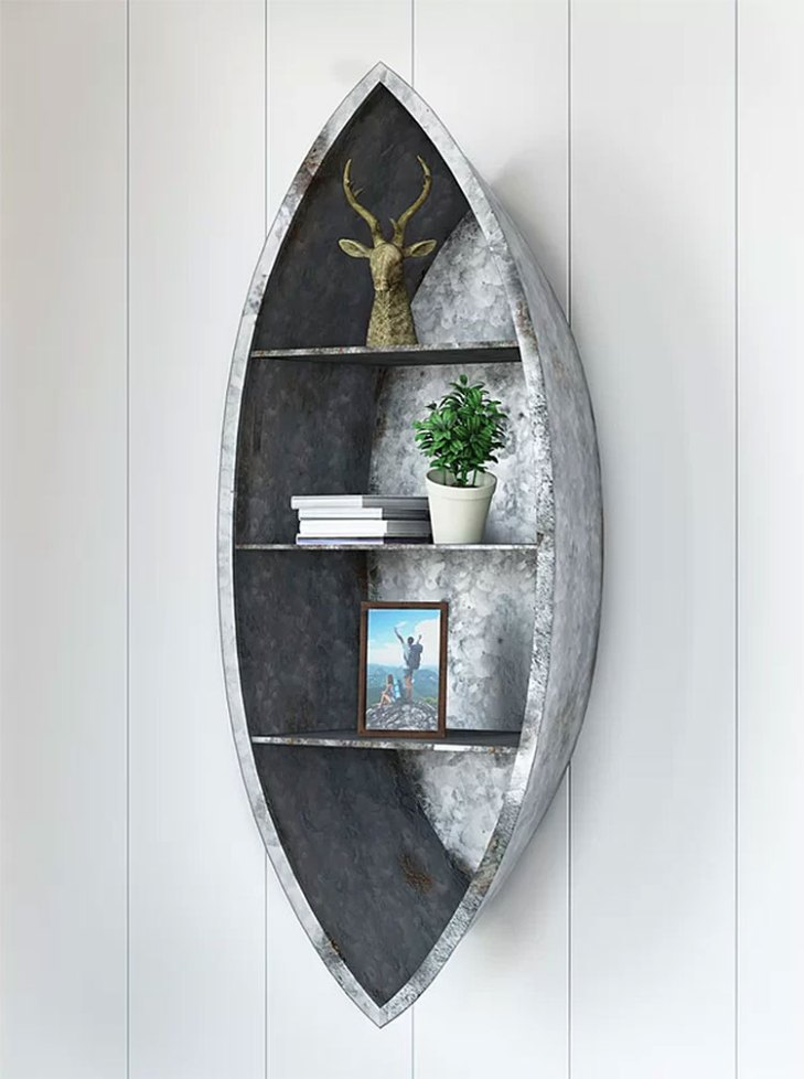 Nelson Rustic Galvanized Metal Canoe Wall Shelf