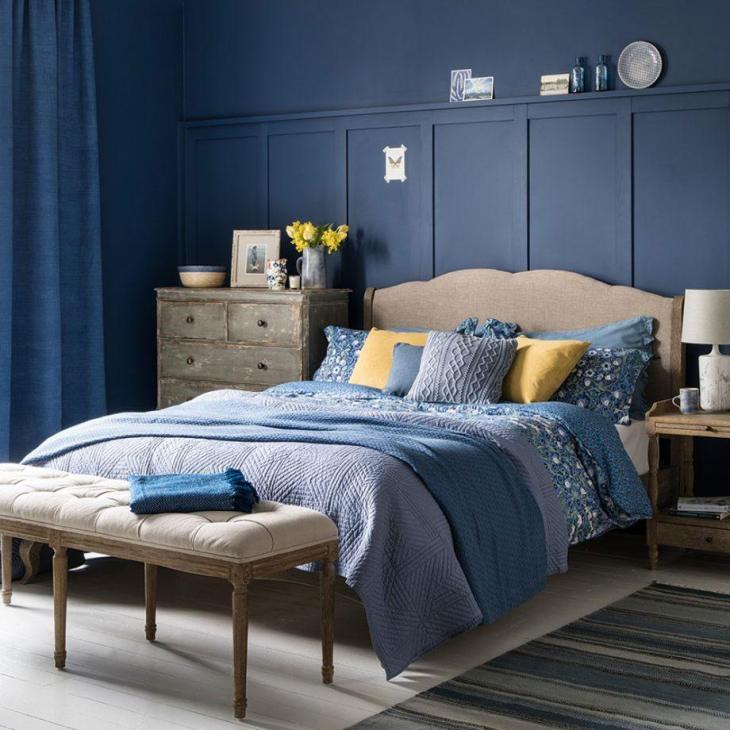 Paneled Indigo Blue Country Bedroom