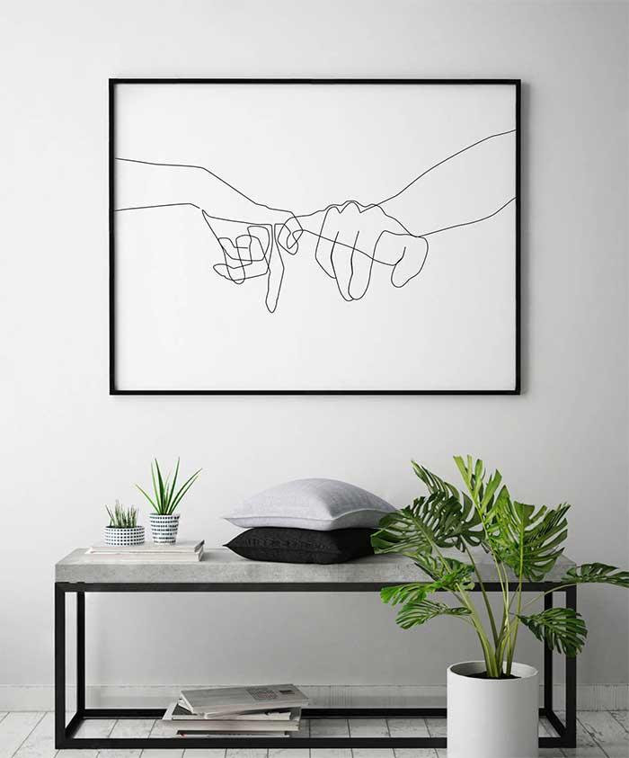 Pinky Swear Line Drawing Couple Art