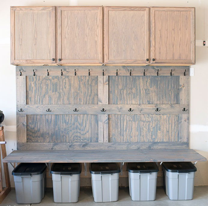 Re-Purposed Kitchen Cabinets for Garage Storage