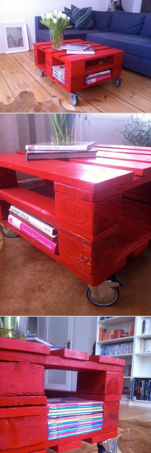 Red Pallet Coffee Table