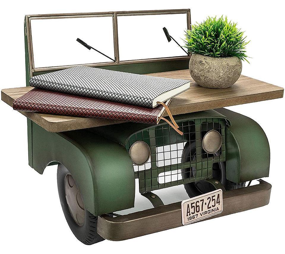 Retro Floating Jeep Rustic Wall Shelf