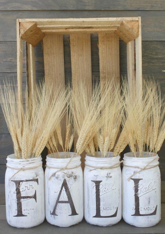 Rustic Fall Mason Jar Vases
