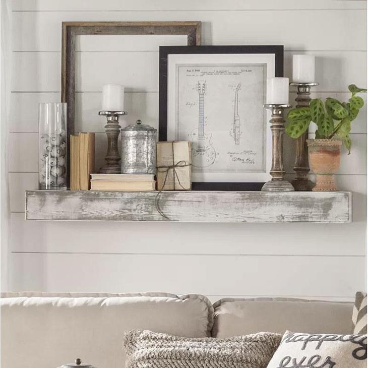 Shabby White Solid Wood Rustic Style Floating Shelf