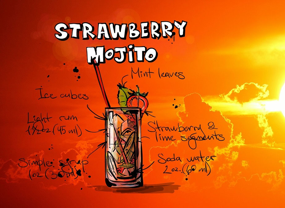 Strawberry Mojito Summer BBQ Cocktail