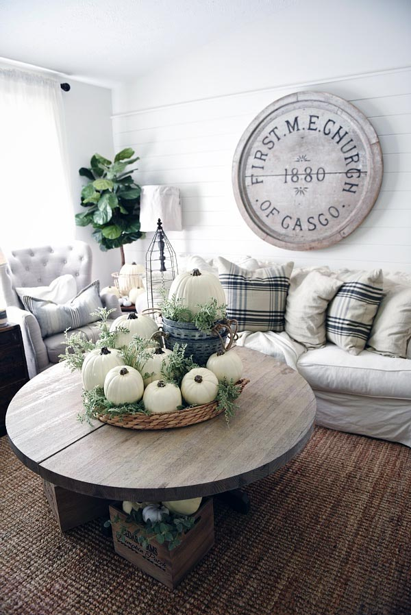 White Pumpkin Coffee Table Centerpiece