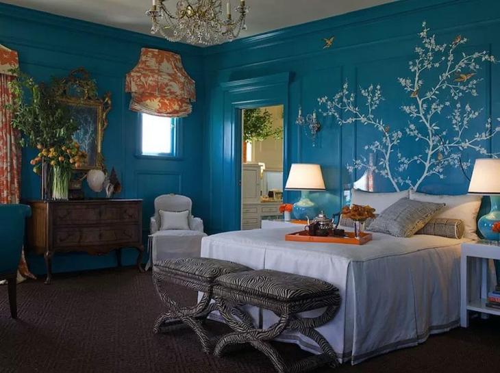 Wild Blue & Orange Bedroom