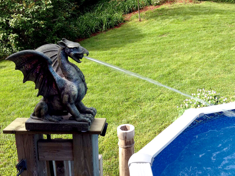 Unique Dragon Pool Spitters Backyard DIY Project