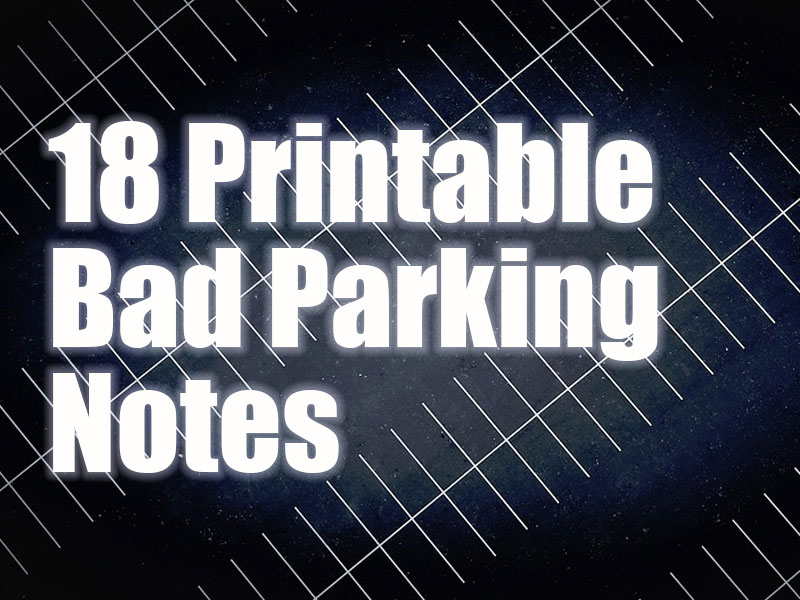 18 Printable Bad Parking Business Card Notes