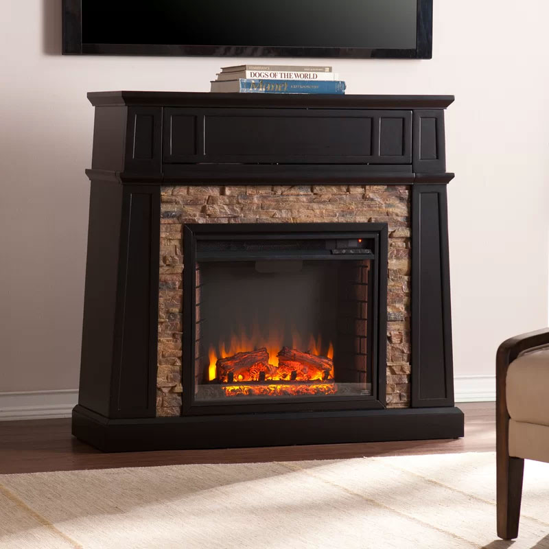 Alcott Hill Stacked Stone Fireplace