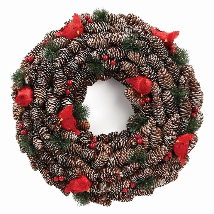 Cardinals & Pinecones Wreath
