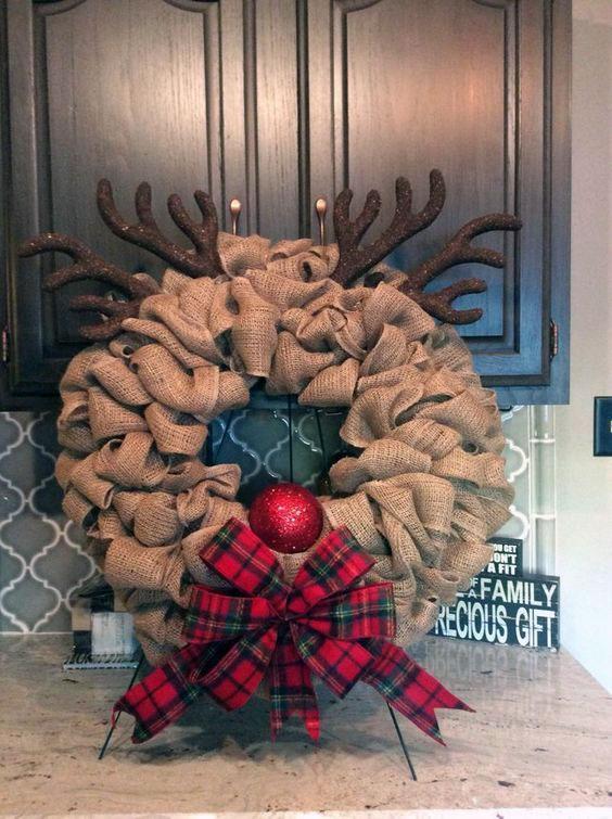 DIY Burlap Rudolph the Red Nosed Reindeer Wreath