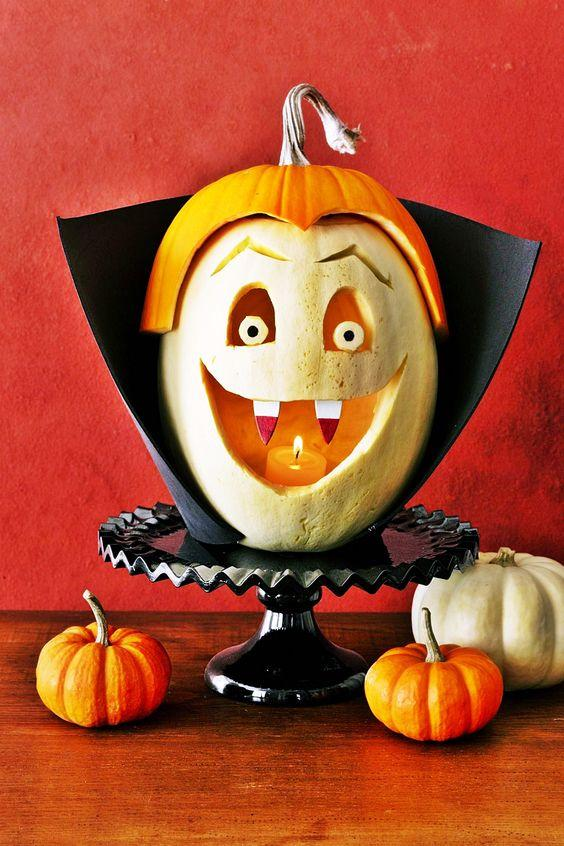 Happy Vampire Carved Pumpkin