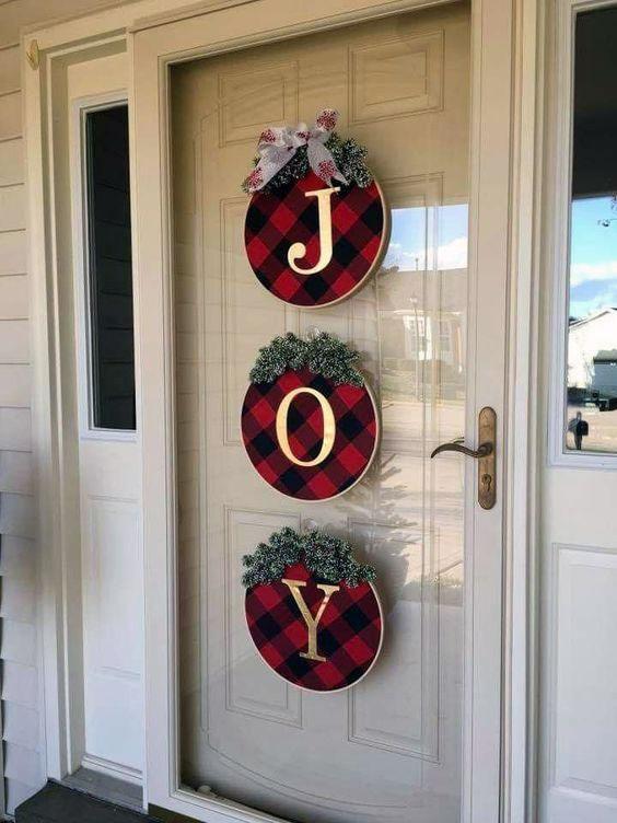 JOY Buffalo Check Fabric Embroidery Hoop Wreaths