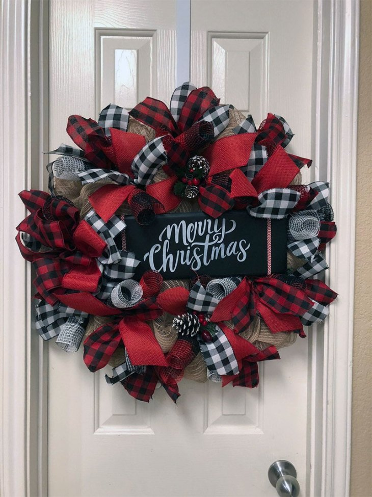 Merry Christmas Buffalo Check Wreath