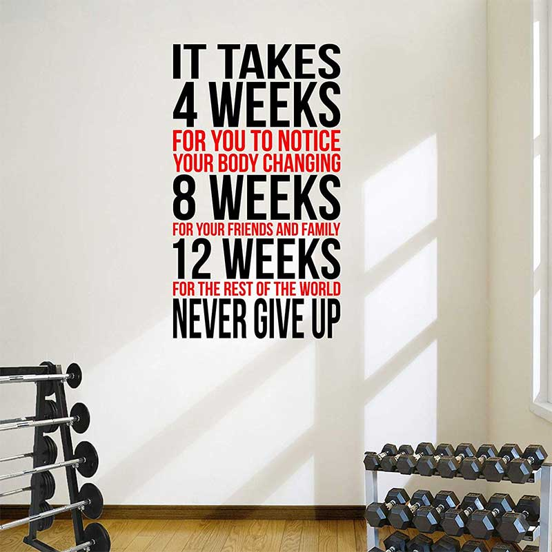 Never Give Up Gym Wall Decal