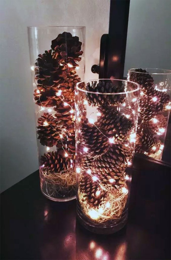 Pine Cone Luminaries  | DIY Christmas Decorations