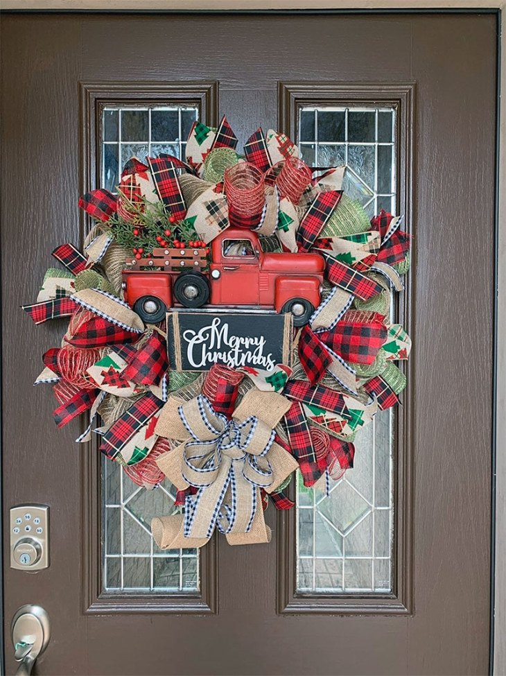 Red Truck Rustic Christmas Wreath