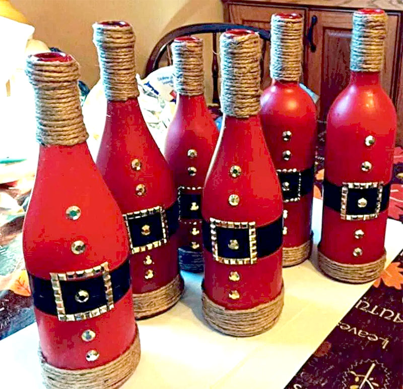 Painted Santa Bottles  | DIY Christmas Decorations