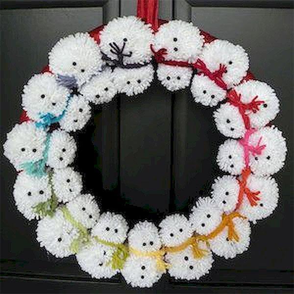 Snowman PomPom Wreath