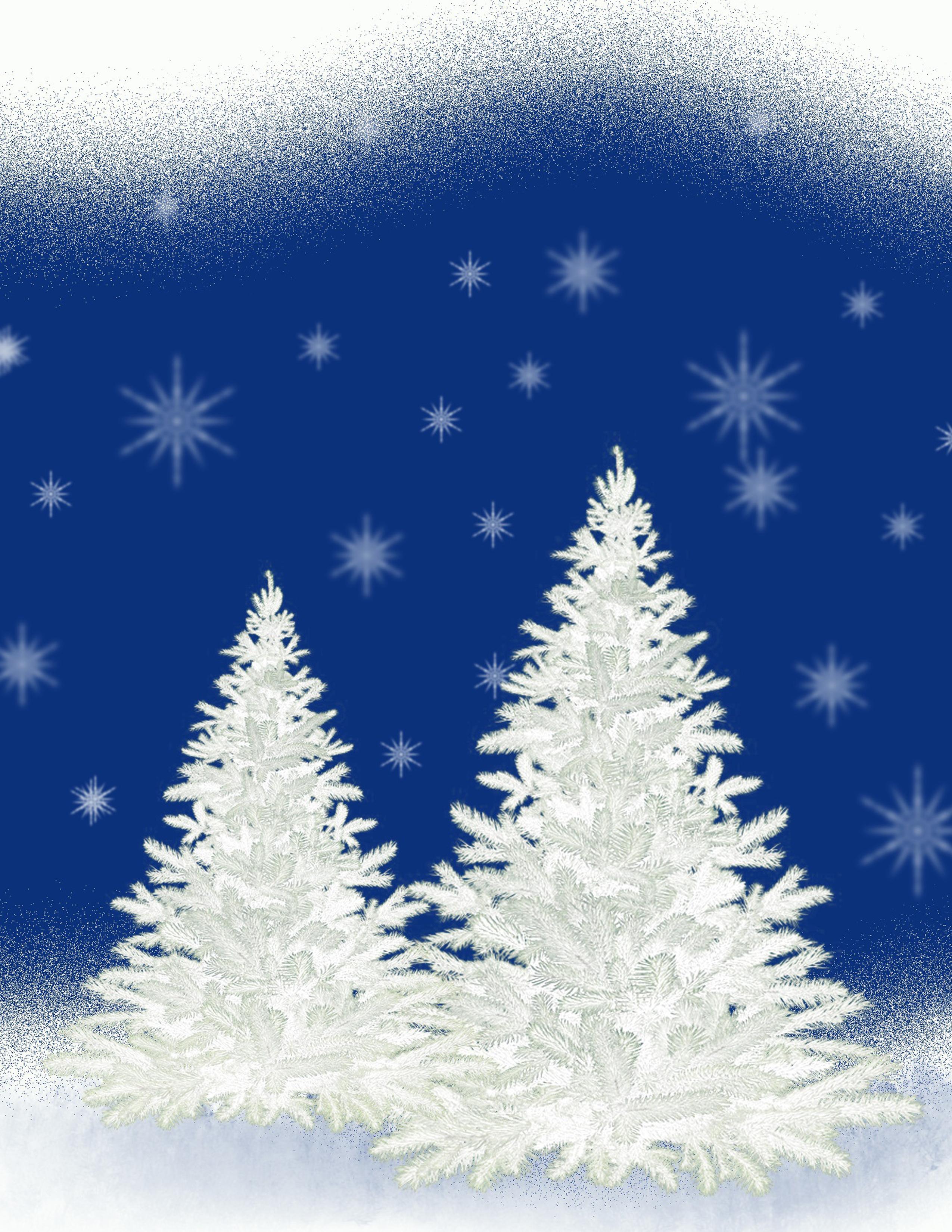 White Pine Trees on Blue Background Christmas Printable