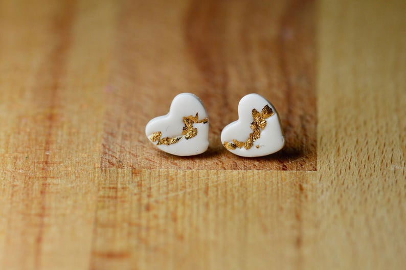 Kintsugi Heart Stud Earrings