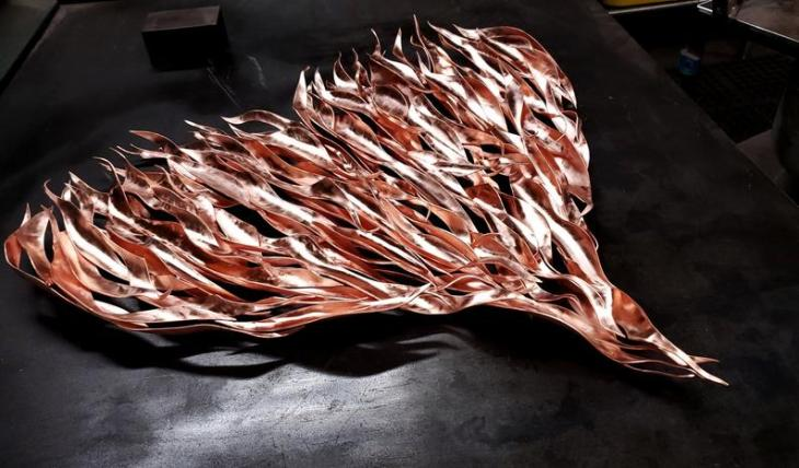 Extra-Large Custom Copper Flame Heart