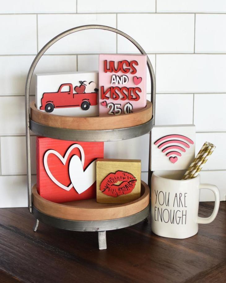 Tiered Tray Valentine's Day Decor