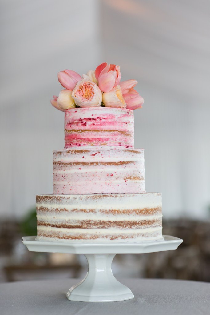 Almond Cream Fresh Tulip Wedding Cake by the Jackson Cake Company