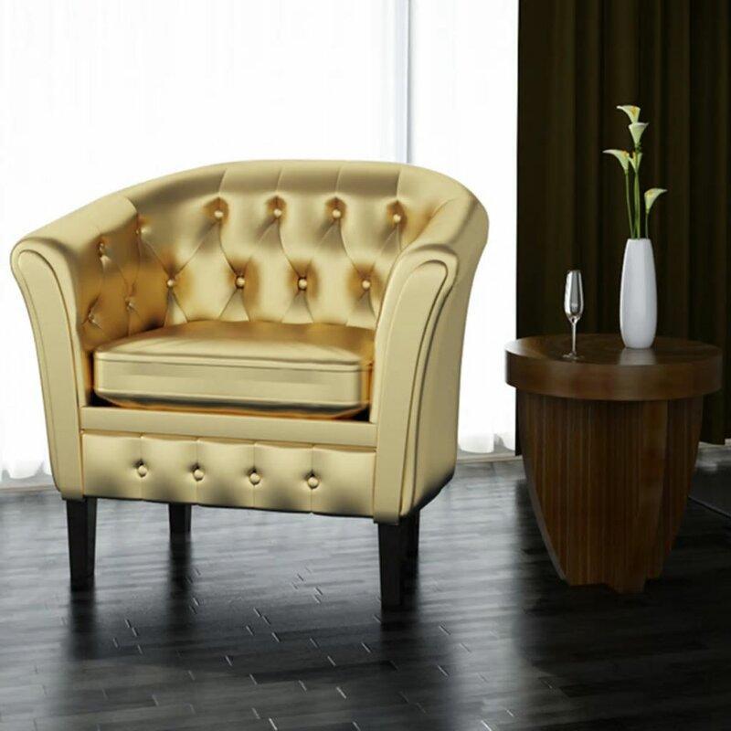 Alto Artificial Leather Gold Armchair