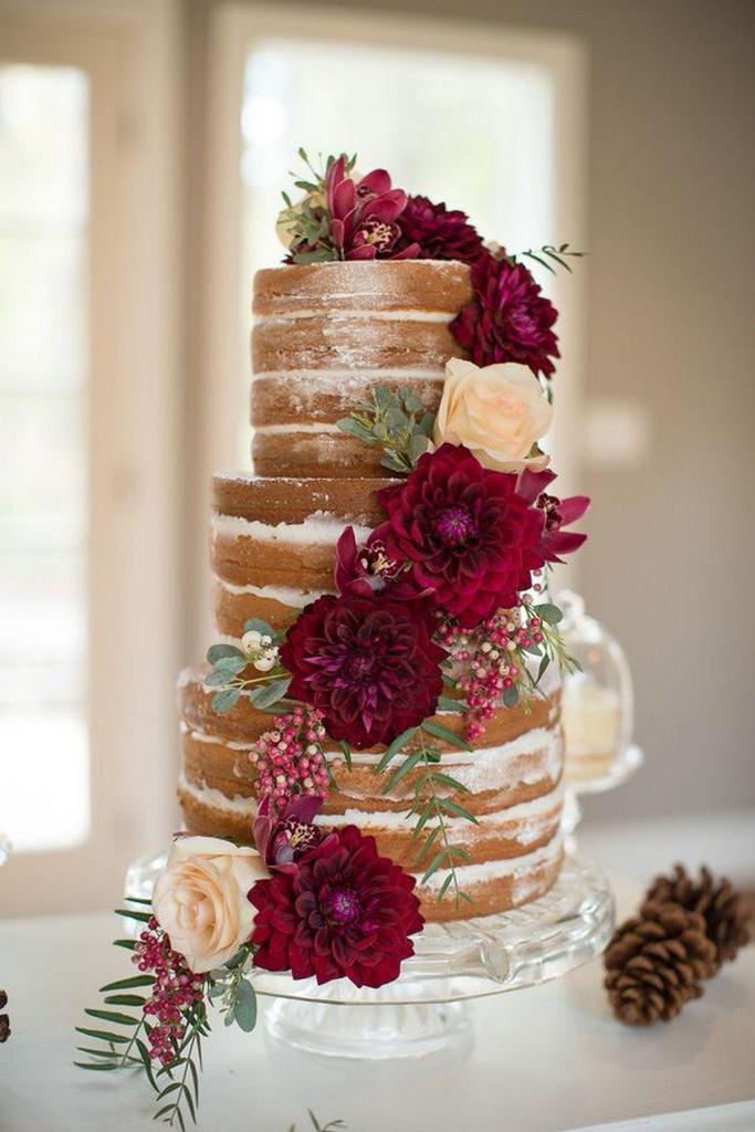 Burgundy Dahlia Naked Wedding Cake photo by Ashley Cook Photography.
