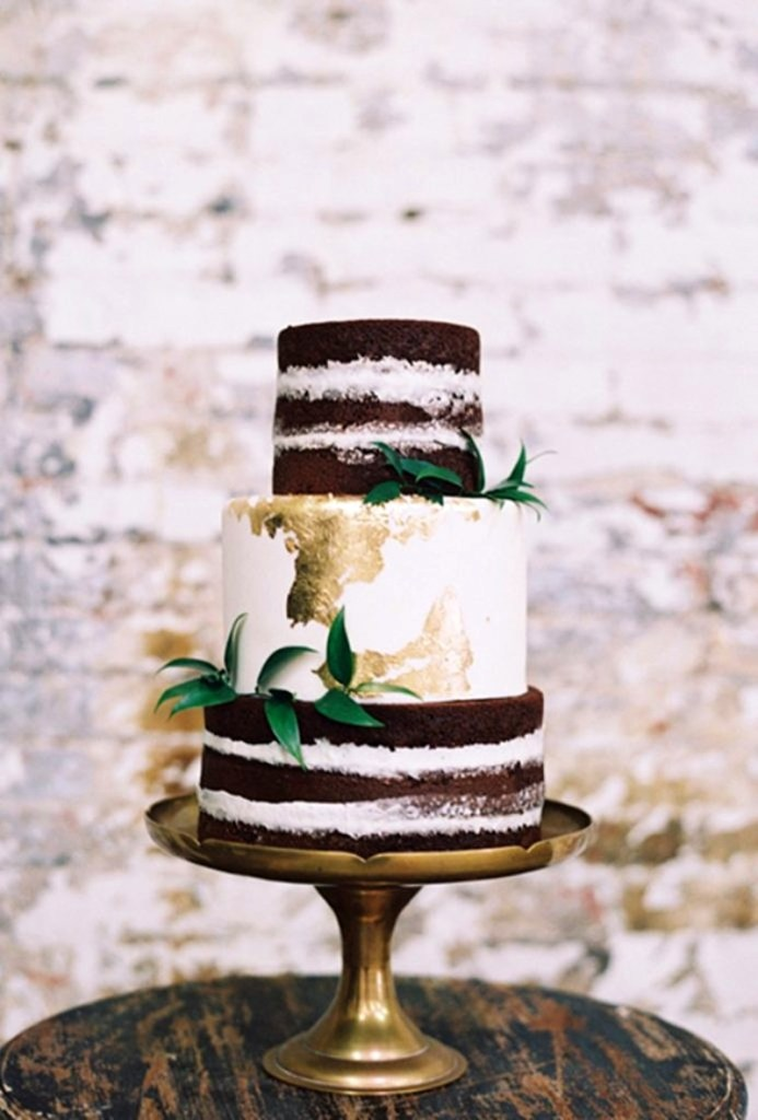 Chocolate and Gold Foil Rustic Wedding Cake from Sasselina Sweets