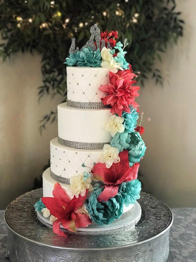 Climbing Flowers Wedding Cake