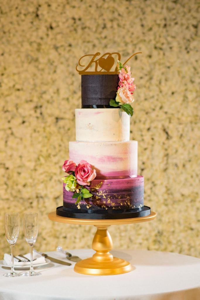 Color-Block Glam Wedding Cake by Maya Dahlia Cakes