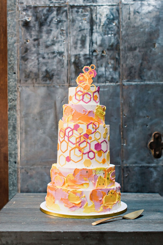 Colorful Geometric Wedding Cake by Nine Cakes