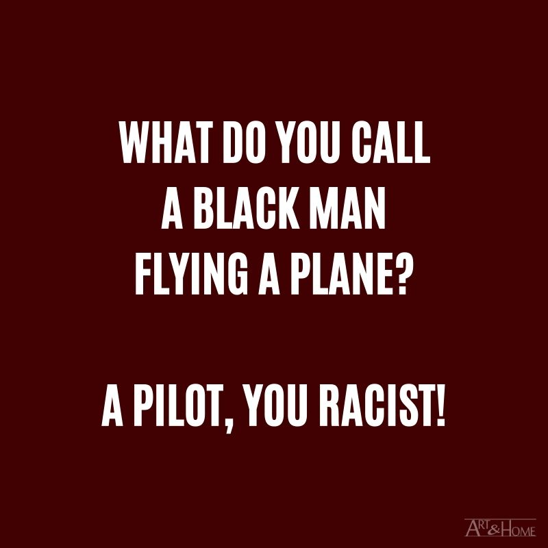 What do you call a black man flying a plane? A pilot, you racist! #DadJokes