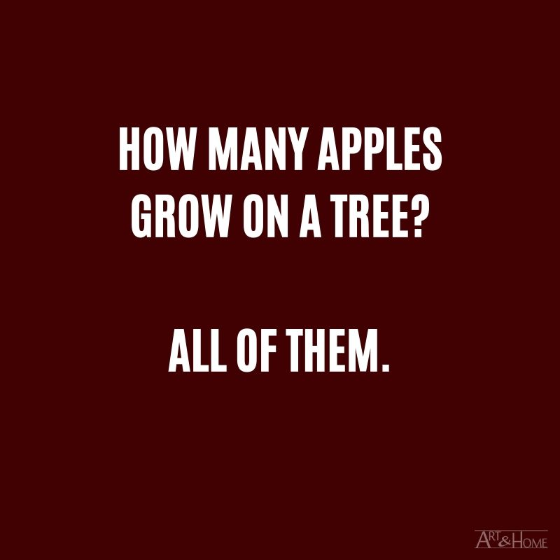 How many apples grow on a tree? All of them.