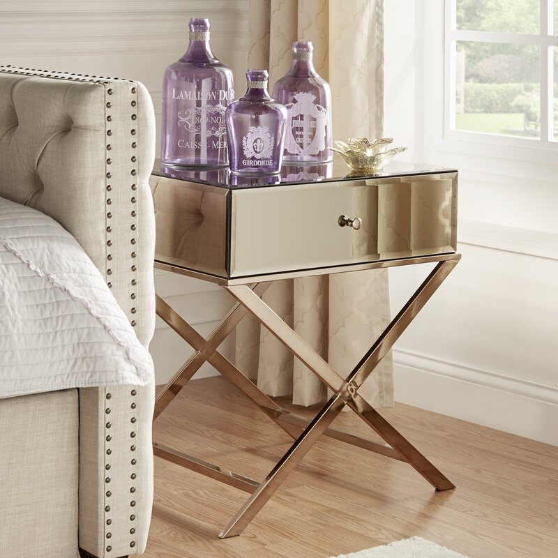 Desiderio Mirrored Champagne Gold End Table with Storage