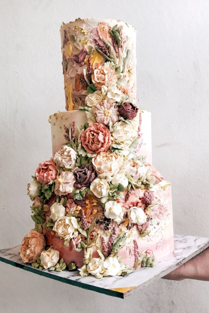 Fall Floral Explosion Wedding Cake from Cupplets Bakery