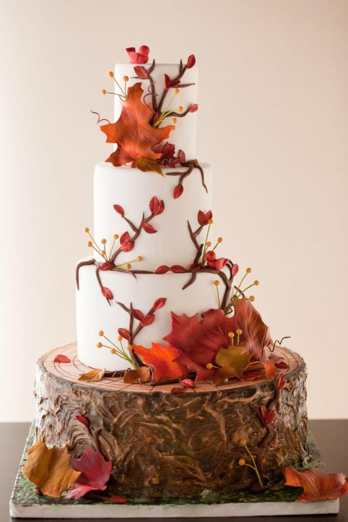 Fallen Leaves wedding cake by Erin Bakes