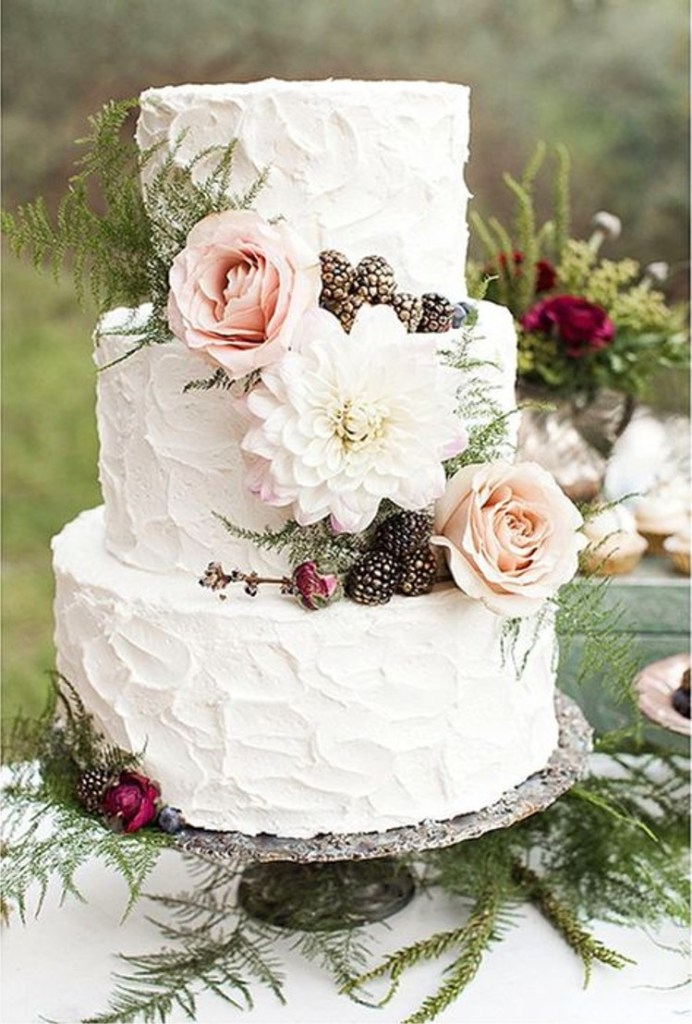 Flowers and Pinecones Rustic Wedding Cake by Elise Cakes
